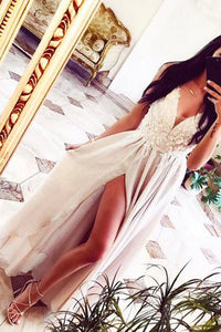 Simple Chiffon A-line V Neck Lace Long Prom Dress, Formal Dress PL329
