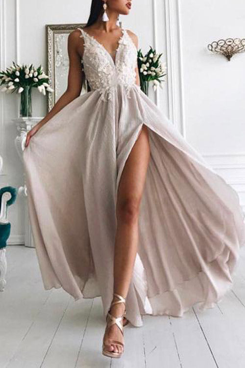 promnova.com|Simple Chiffon A-line V Neck Lace Long Prom Dress, Formal Dress