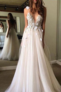 Gorgeous A-line V Neck Tulle Long Prom Dress, Tulle Formal Dress PL330