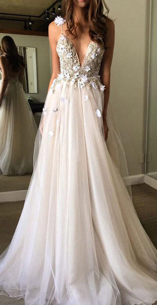 promnova.com|Gorgeous A-line V Neck Tulle Long Prom Dress, Tulle Formal Dress