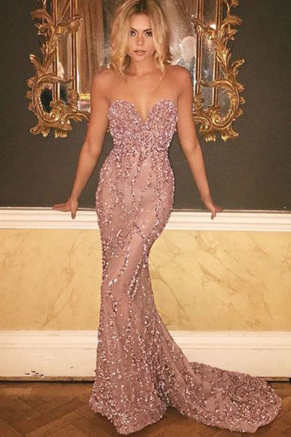 Off Shoulder Sweetheart Mermaid Long Prom Dress with Sweep Train PL332