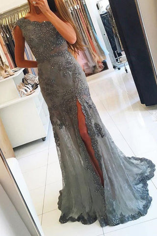 One Shoulder Grey Tulle Slit Beaded Prom Dresses with Appliques PL333