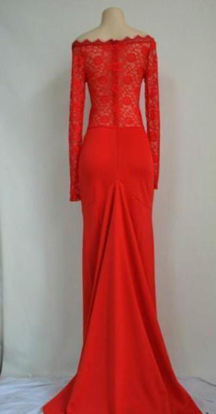 Gorgeous Red Long Sleeve Lace Mermaid Chiffon Long Prom dresses|promnova.com