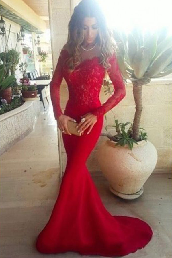 Gorgeous Red Long Sleeve Lace Mermaid Chiffon Long Prom dresses PL334