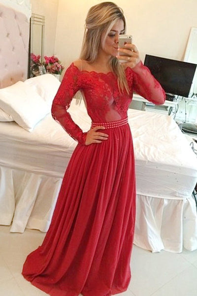Red Long Sleeves A-Line Off-the-Shoulder Chiffon Long Prom Dress PL335
