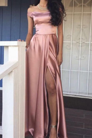 Rose Pink Off-the-Shoulder A-line Front-Slit Shiny A-line Prom Dress PL336