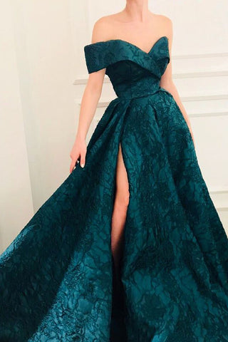 Gorgeous A-line Cap Sleeves Long Prom Dresses with Side Slit PL337