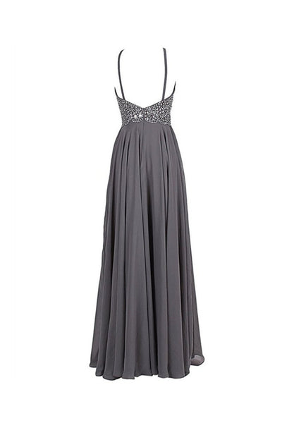Cheap Gray Chiffon Backless Sleeveless Long Evening Prom Dress With Beading |www.promnova.com