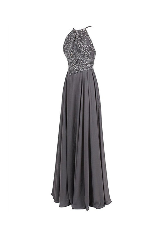 Cheap Gray Chiffon Backless Sleeveless Long Evening Prom Dress With Beading |promnova.com