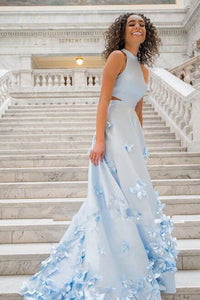 Two Piece Light Sky Blue Sleeveless Round Neck Flowers Appliques Prom Dress |www.promnova.com