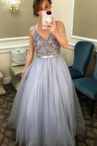 V Neck Spaghetti Straps Tulle Prom Dresses with Beaded PL385|www.promnova.com