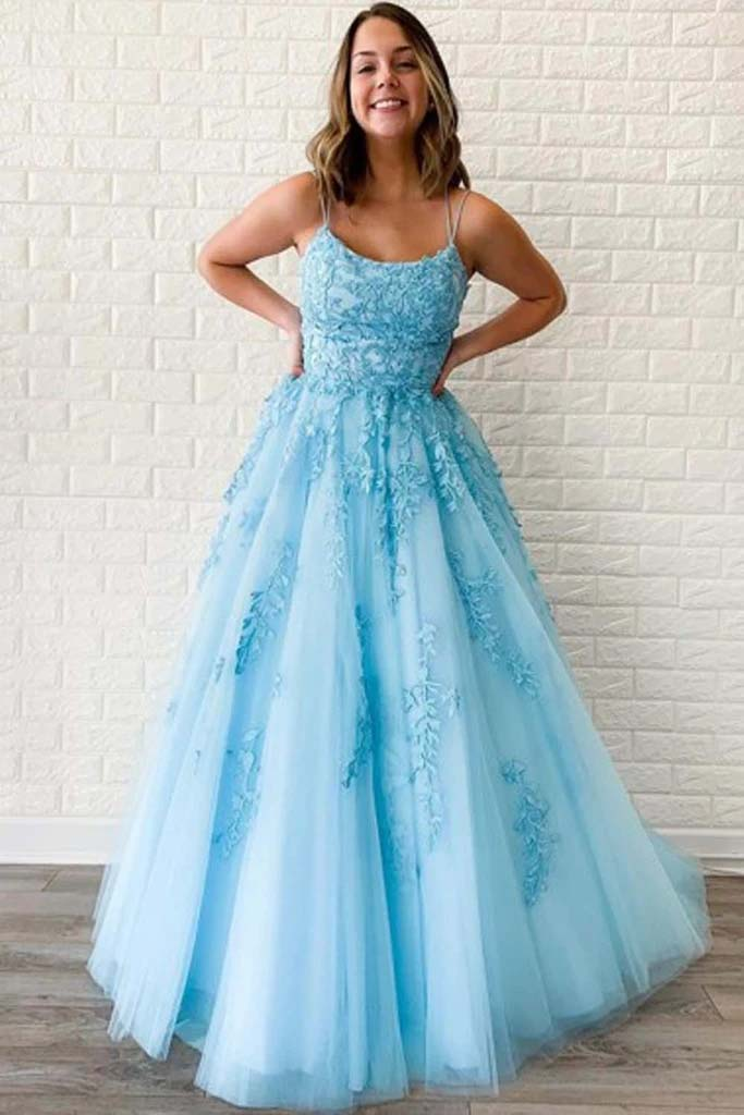 Blue A-line Spaghetti Straps Tulle Lace Prom Dresses Party Dresses PL390 | wedding lace dresses | party lace dresses | wedding dresses near me | wedding white dress | party wear dresses for girls 2020 | tulle fabric | bridal gown 2020 | sleeveless wedding dress | sleeveless party dress | buy wedding dresses online | wedding dress shop near me | wedding store near me | Promnova