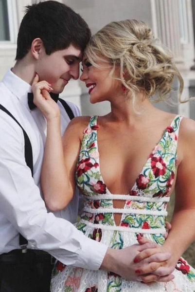 www.promnova.com supply floral ivory prom dress with high quality