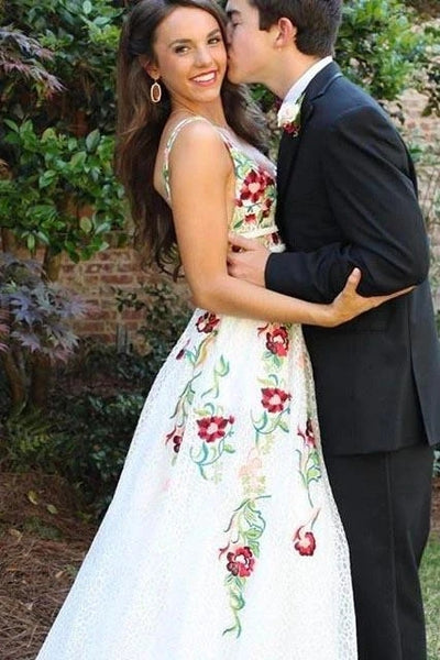 www.promnova.com - ivory lace floral long prom dresses on line