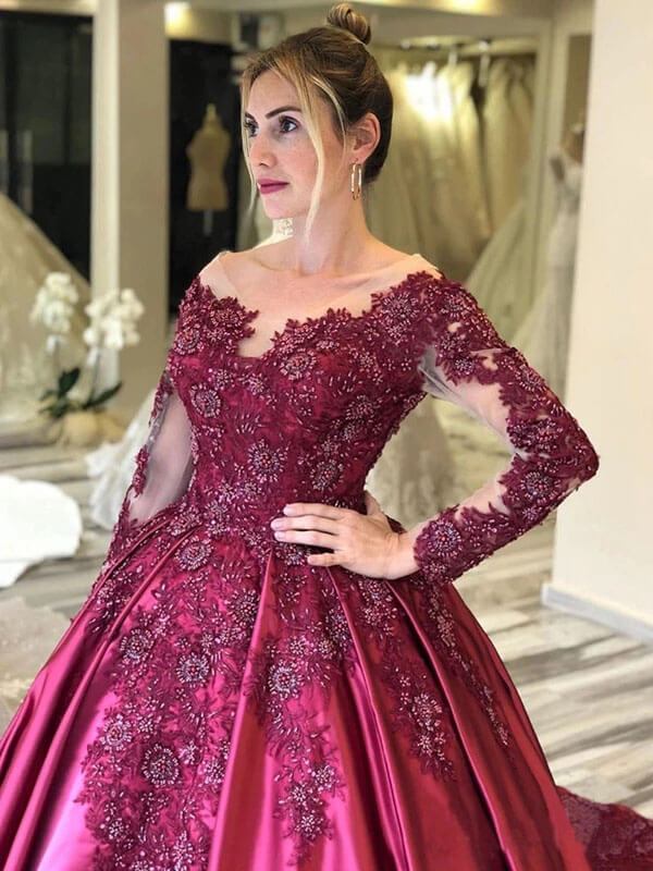 Burgundy Long Sleeves Floral Embroidery Prom Dresses With Court Train PL392 | Prom Dresses Burgundy | Long Sleeve Prom Dresses | Lace Prom Dresses | Prom Dresses Near Me | Prom Dresses Store | Promnova