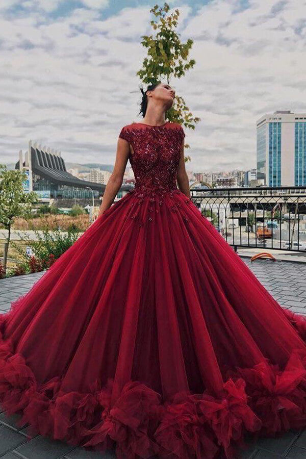 Luxury Tulle Burgundy Ball Gown Scoop Beaded Long Prom Dresses PL394 | prom dresses | party dresses | ball gown prom dresses | prom dresses online | Burgundy prom dresses | prom dresses stores | sexy prom dresses | long prom dresses | cheap prom dresses | prom dresses 2020 | plus size prom dresses | prom dresses near me | Promnova