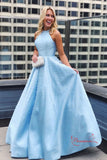 Light Blue Satin Round Neck Ball Gown Prom Dresses with Pearls Beading PL397 | prom dresses blue | simple prom dresses | evening dresses | formal dresses | long prom dresses | prom dresses cheap | prom dresses online | Promnova.com