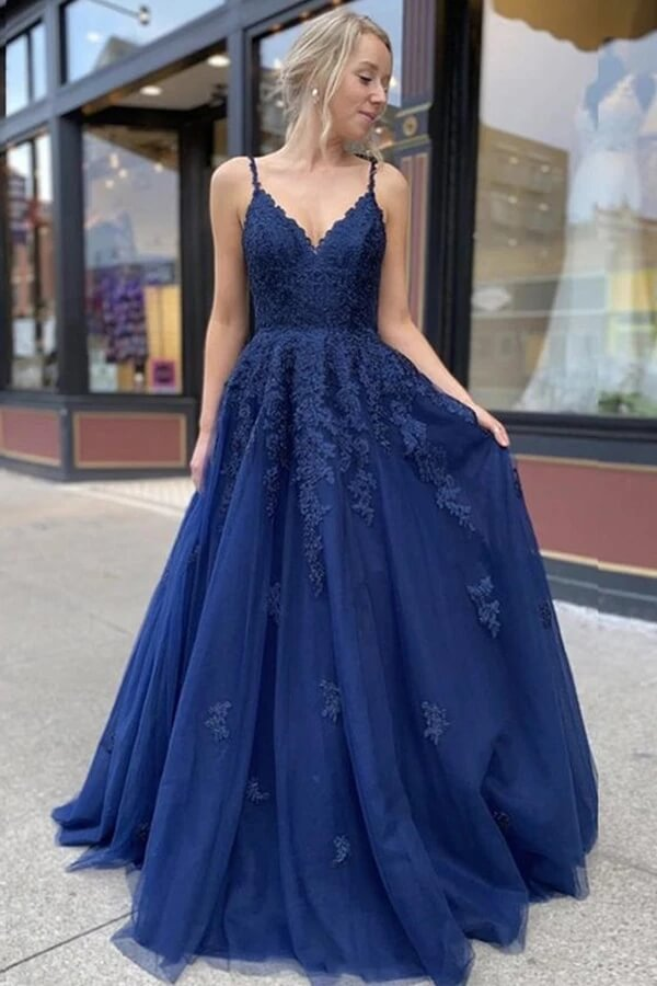 Sky Blue A Line Lace V Neck Floor Length Prom Dresses Formal Dress PL401 | prom dresses | formal dresses | evening dresses | cheap prom dresses | party dresses | Promnova.com