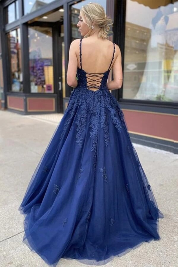 Cheap Navy Blue A Line Lace V Neck Floor Length Prom Dresses Formal Dress PL401 | prom dresses | formal dresses | evening dresses | Promnova.com