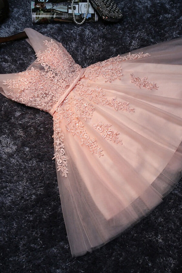 Pearl Pink Tulle A Line Lace Homecoming Dresses Short Prom Dresses PH360 | short prom dresses | cheap homecoming dresses | pink homecoming dresses | lace homecoming dresses | graduation dresses | sweet 16 | school dance | party dresses | homecoming dresses near me | Promnova.com
