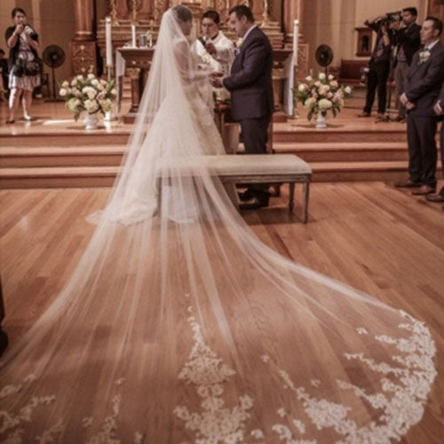 Ivory Long Wedding Veil, One Layer Cathedral Length Lace Bridal Veil PV103