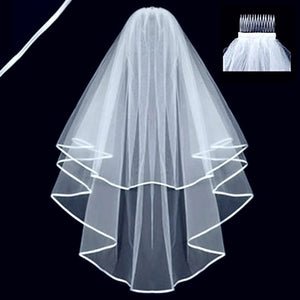 White Two Layers Wedding Veils Ribbon Edge with Comb, PV110