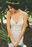 Spaghetti Straps Wedding Dresses, Ivory Lace Backless Tulle Wedding Gown, PW102