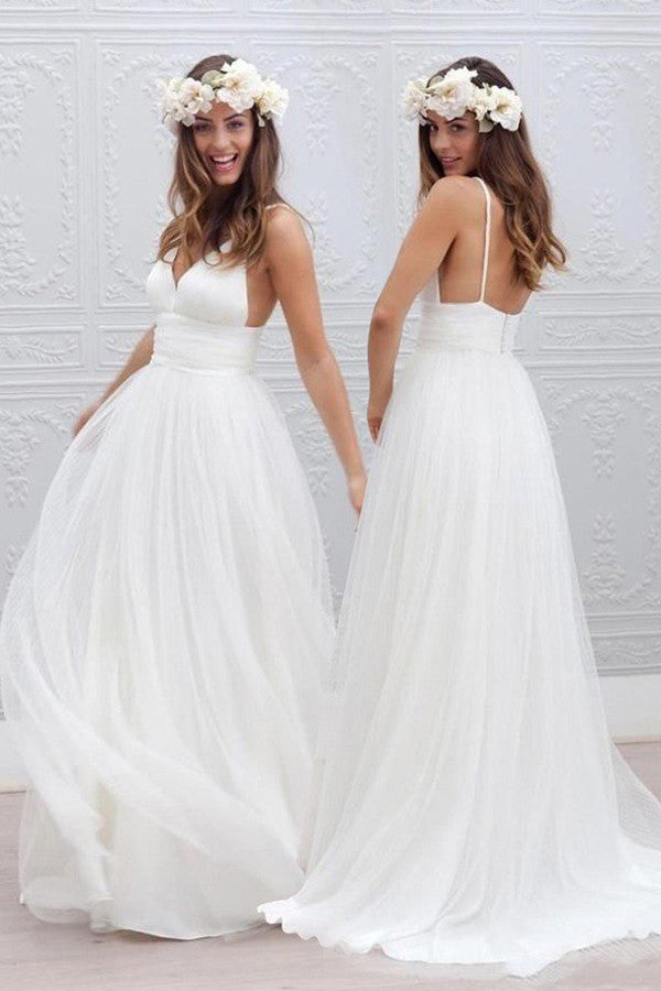 Simple V-neck Wedding Dresses,Floor-Length Wedding Gowns With Ruched Sash, PW103