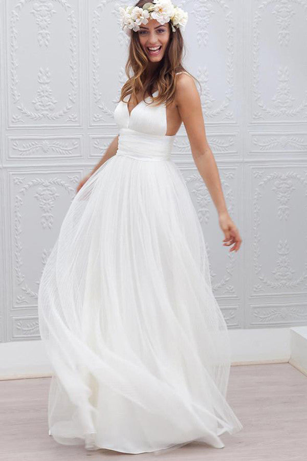 Simple V-neck Wedding Dress,Floor-Length Wedding Gown With Ruched ...