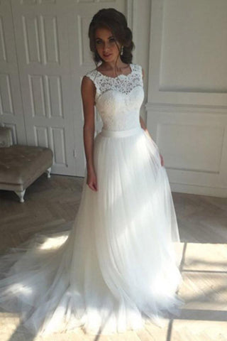 White A-Line Bridal Gown, Sleeveless Lace Sweep Train Wedding Dress, PW105