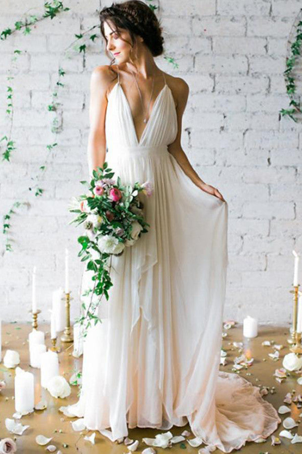 Ivory Deep V-neck Sweep Train Wedding Dresses,Bridal Gown With ...