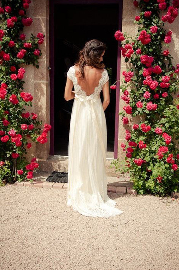 Open Back Wedding Dress With Sash, V-neck Cap Sleeves Sweep Train Bridal Gown, PW108