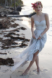 Lace Beach Wedding Dress,Illusion Neckline Sheer Back  Chiffon Bridal Gown, PW110