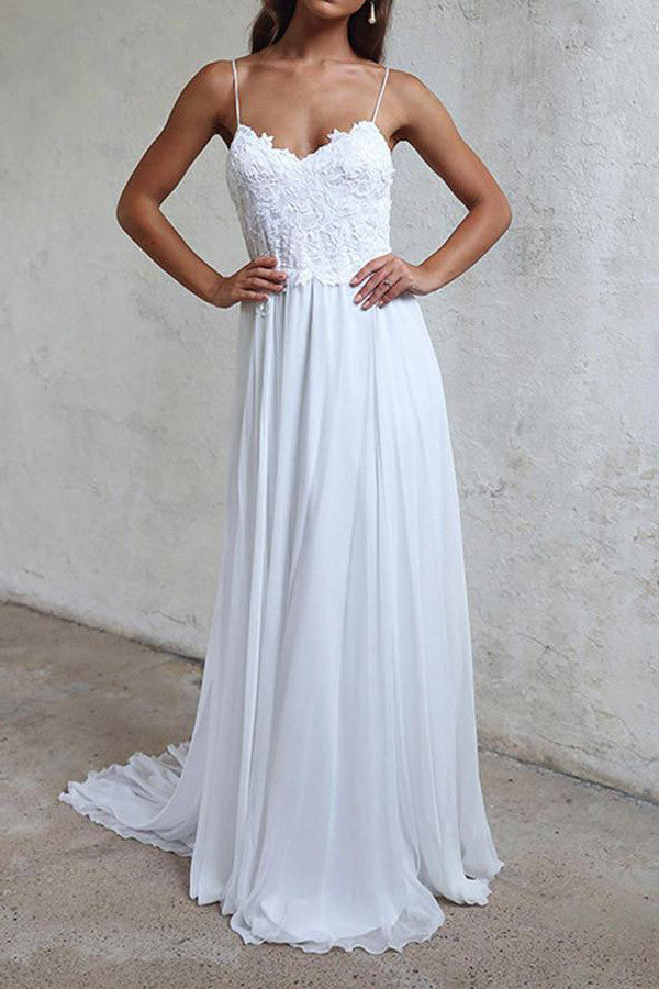 Elegant White Long Chiffon Beach Wedding Dress, A-line Straps Wedding Gown, PW111