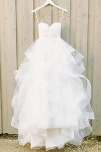 Cheap Sweetheart Tulle A-line Wedding Dress with Ruffles,Bridal Gowns, PW112