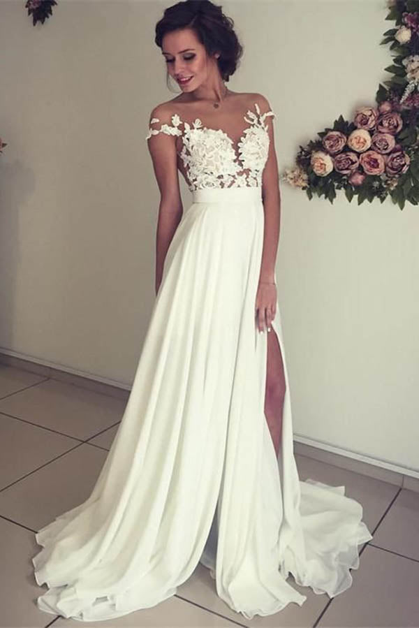 Ivory Sweep Train Wedding Dress,Cap Sleeves V-neck Bridal Gown with Appliques, PW113 | lace wedding dresses | bridal gowns | wedding dresses online | cheap wedding dresses | chiffon wedding dresses | wedding dresses near me | Promnova
