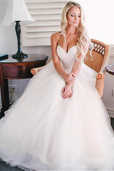 A-line Tulle Spaghetti Straps Ivory Wedding Dresses,Beach Wedding Gowns, PW114