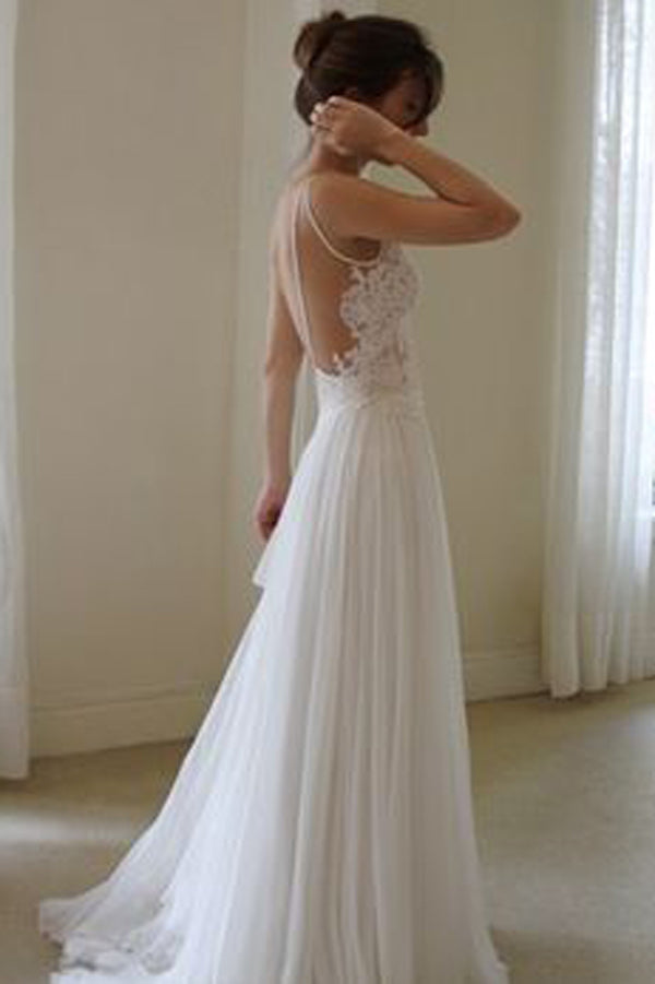 Open Back Sweetheart Spaghetti Beach Wedding Wedding Dress with Appliques, PW115