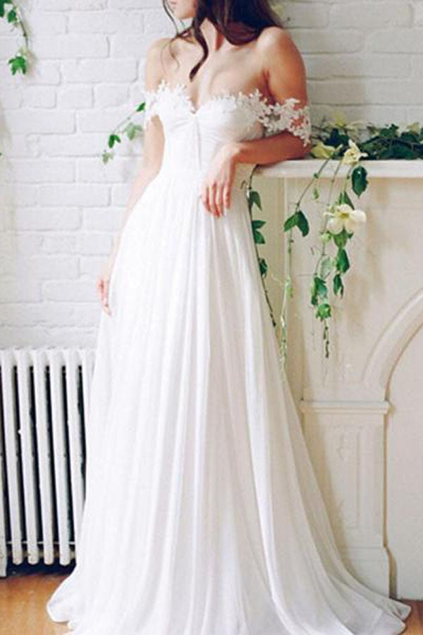 Wedding Dresses Off White | Chiffon White Off Shoulder Beach Wedding Dress Cheap Long Prom