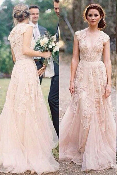 Pink Tulle Charming Sexy V-neck Lace Long Sheath Wedding Dresses, PW117