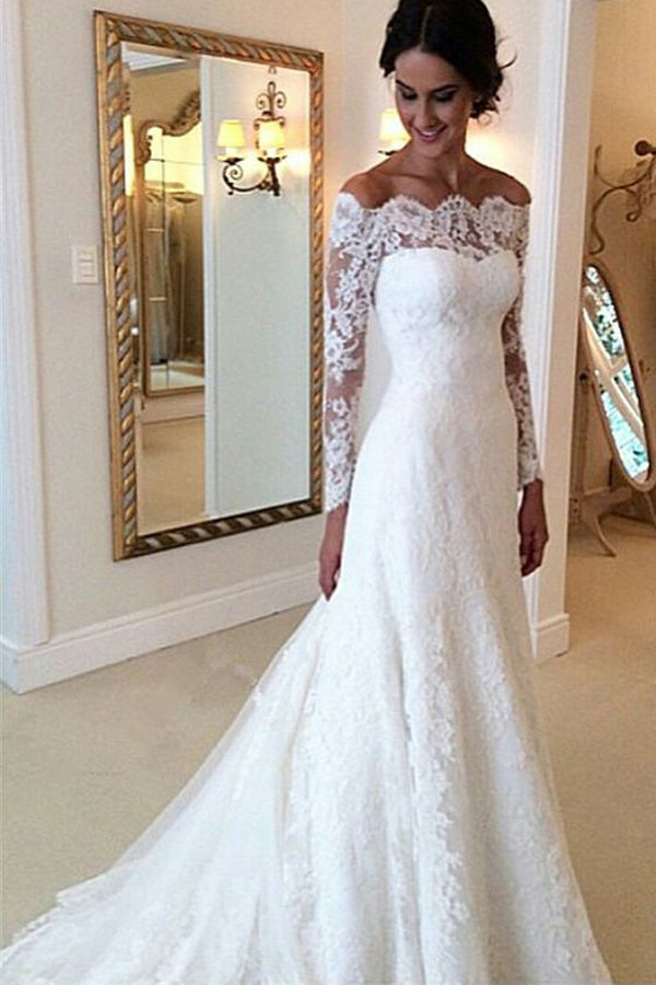 Cheap Ivory Vintage Long Sleeves Wedding Dresses Off Shoulder Bridal Gown Pw123