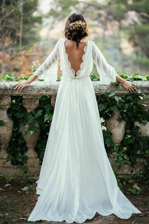 Gorgeous Chiffon Boho Wedding Dress,V Neck Bridal Gown with Appliques, PW127