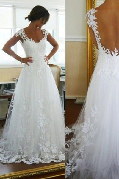 Charming White Open Back Long Wedding Dress with Appliques, PW130