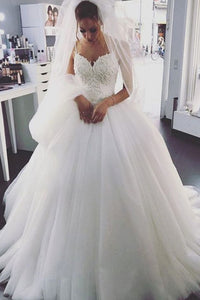 Charming Tulle White Spaghetti Straps Ball Gown Wedding Dress, PW131