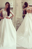 White A Line Vintage Long Sleeves Wedding Dress with Appliques, PW133