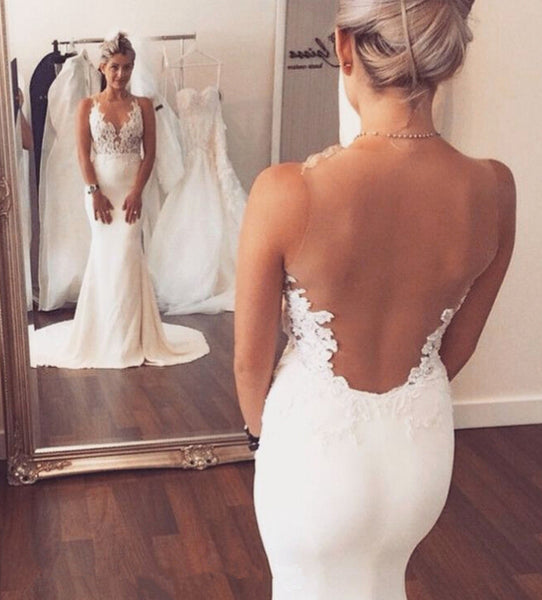 White Mermaid Sleeveless Sweep Train Open Back Wedding Dress with Appliques, PW134