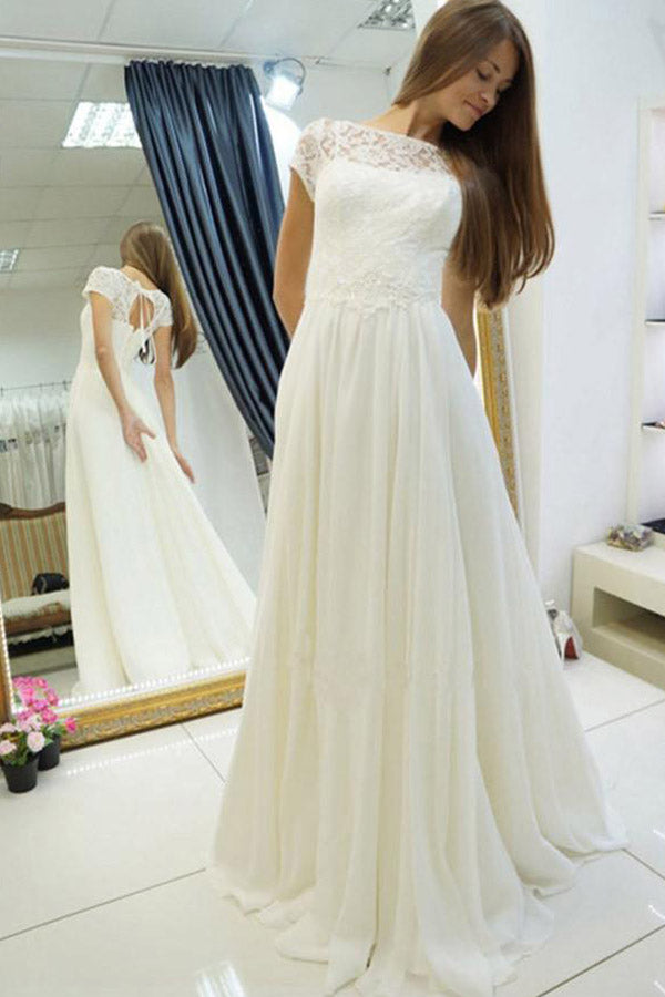 Ivory Bateau Sweep Train Cap Sleeves Wedding Dresses with Lace, PW136