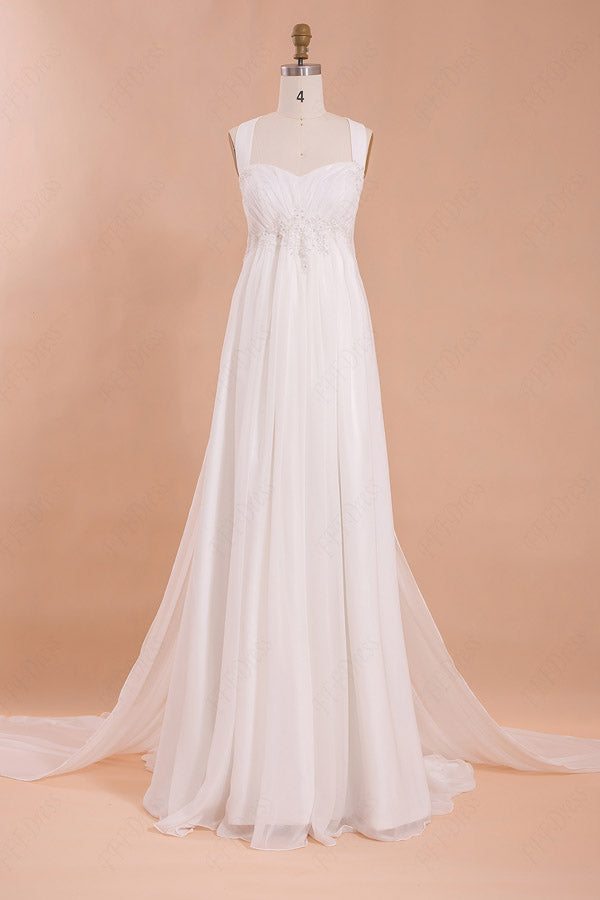 Charming Floor-Length Halter Wedding Dresses Chiffon Beach Wedding Dress, PW137