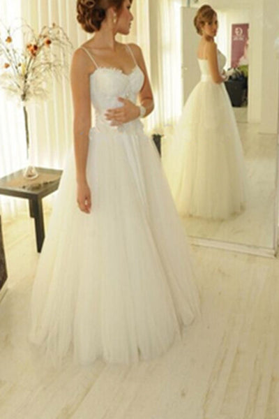 White Tulle Spaghetti Straps Wedding Dresses, Bridal Gown, Simple Wedding Gowns, PW138