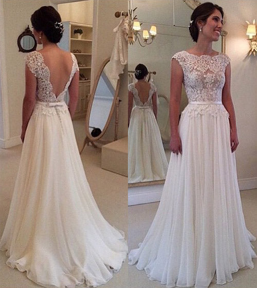 Chiffon Beach Wedding Dress, A Line Backless Lace Wedding Gowns, PW140